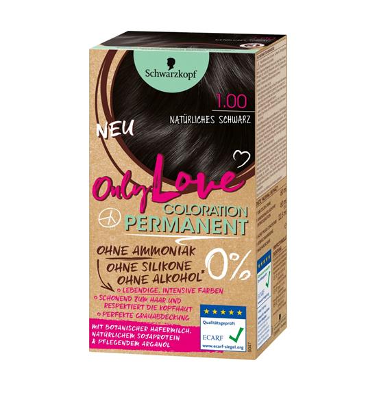 ONLY LOVE Haarfarbe 1.00 Natürliches Schwarz - ECARF Siegel
